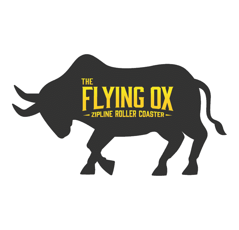 the flying ox zipline roller coaster logo