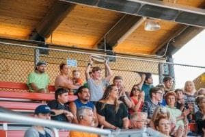 audience in grandstand at lumberjack feud