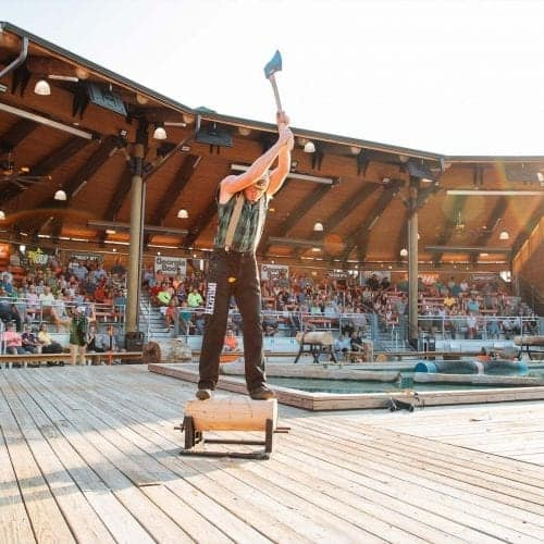 axe chopping during lumberjack show in pigeon forge