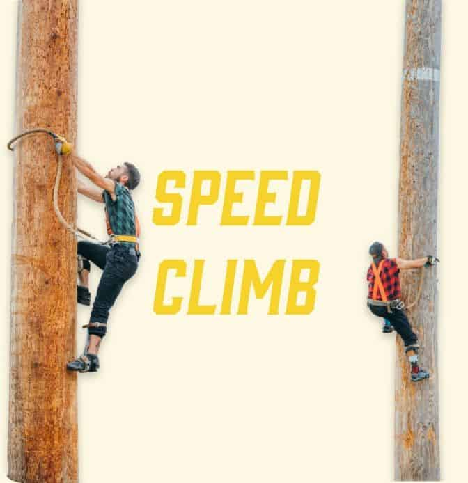 athletes climb during speed climb lumberjack feud