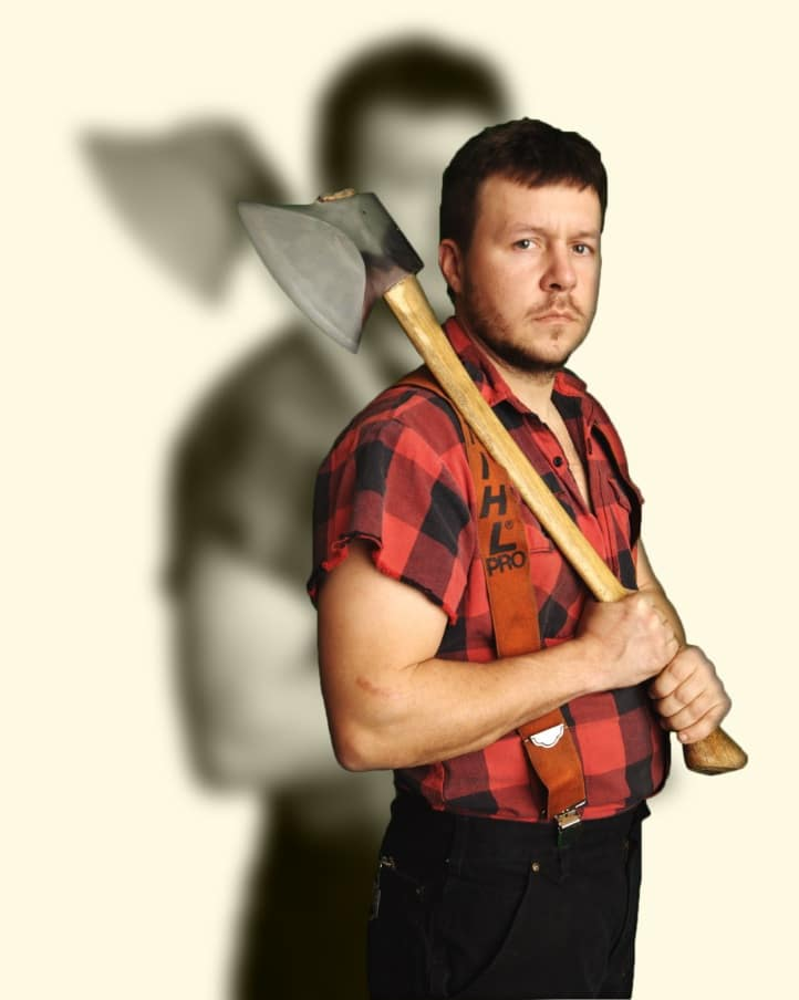 lumberjack profile with axe on shoulder lumberjack feud