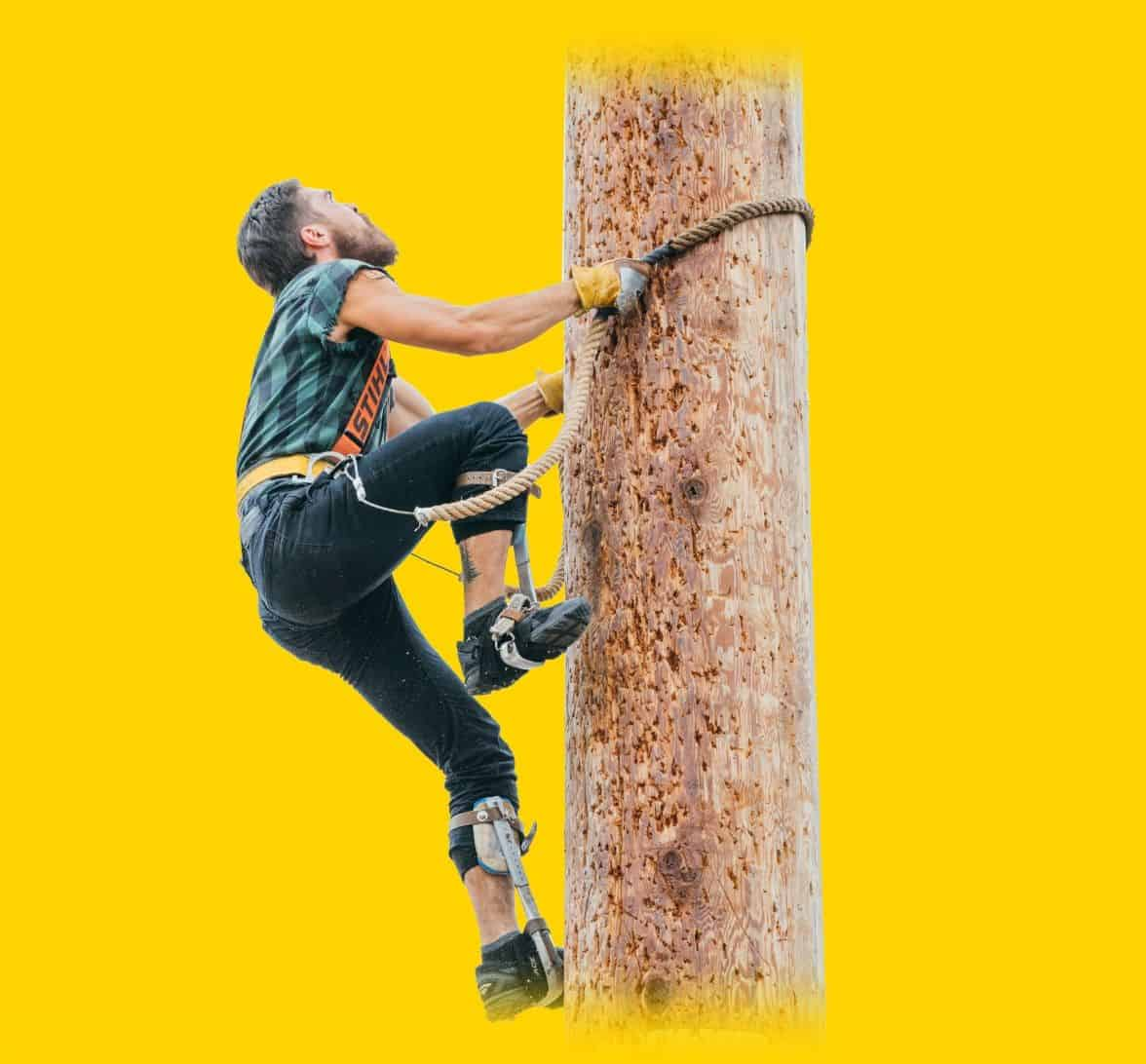 athlete climbing a pole in speed climb
